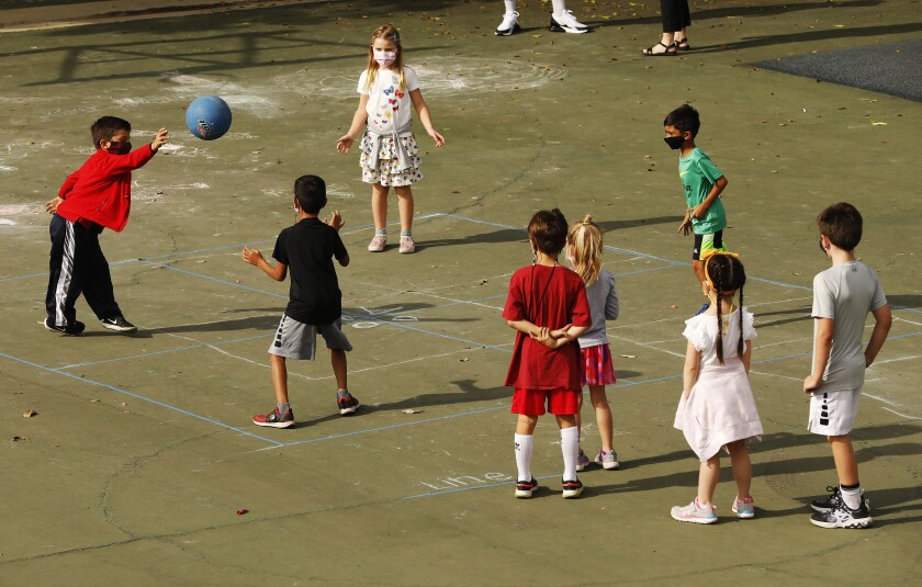 Second-graders play at Chadwick School in Palos Verdes