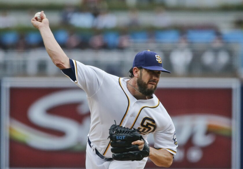 San Diego Padres starting pitcher James Shields throws against the San Francisco Giants during the first inning of a baseball game Thursday, May 19, 2016, in San Diego. (AP Photo/Lenny Ignelzi)