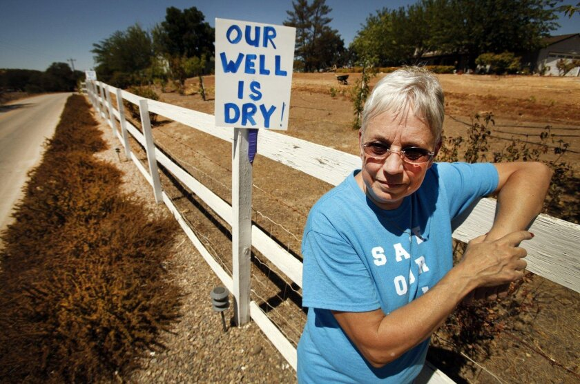 Denise Smith's well has run dry in rural Paso Robles due to the rapid depletion of the local groundwater basin.