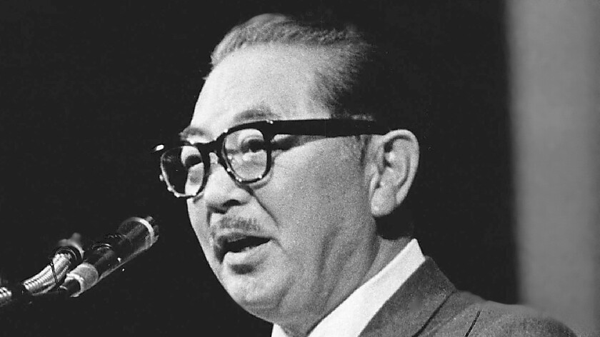 Former California Sen. S.I. Hayakawa at Macky Auditorium in Boulder, Colo., in 1969. He teamed with Tanton to found U.S. English, which successfully pushed for a 1986 California proposition that declared English the state's official language.
