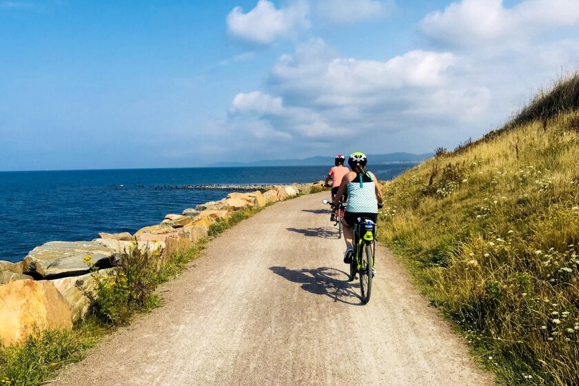 Designated routes for cyclists trace the Swedish coastline.