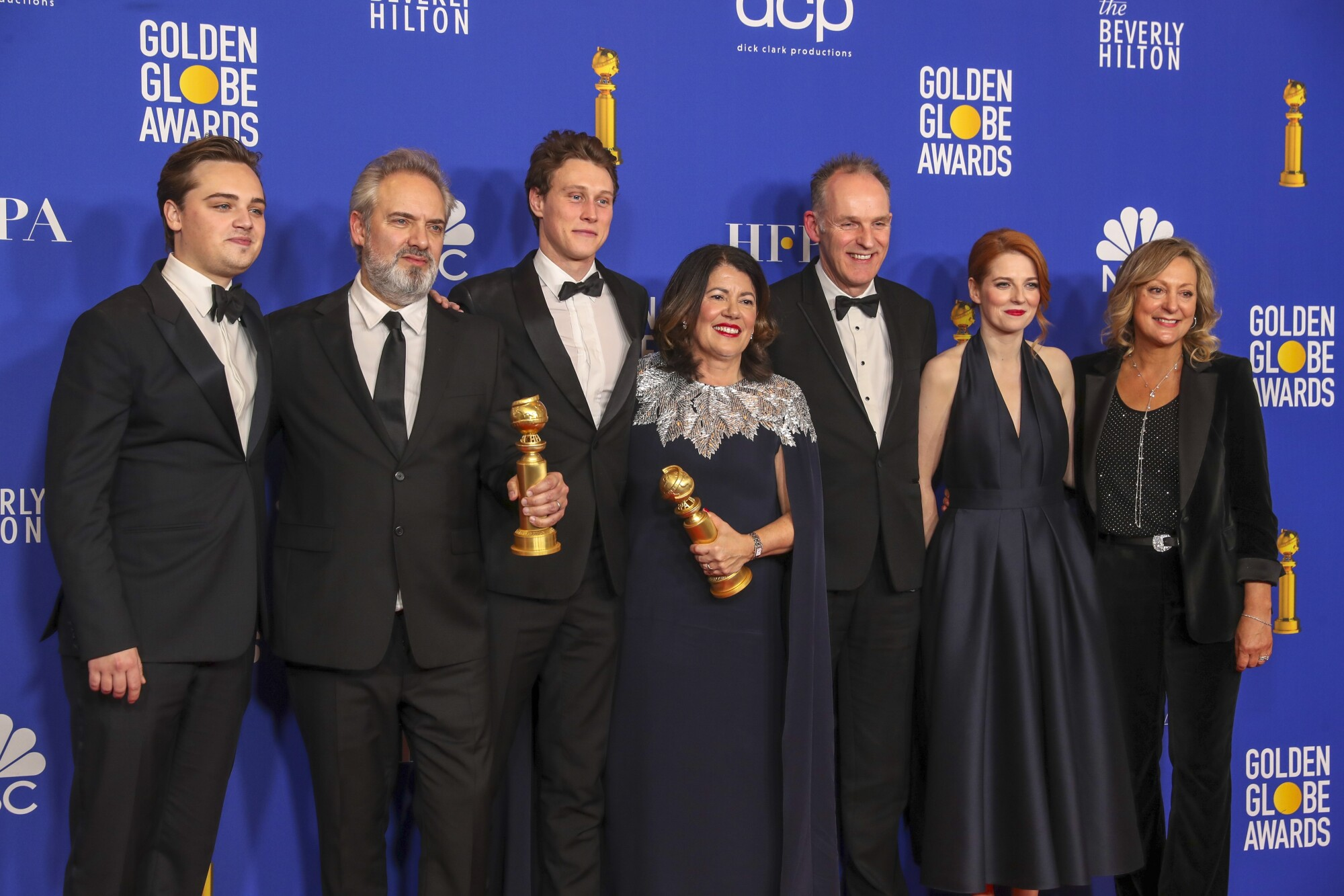 """""""1917"""" cast at the 77th Golden Globe Awards."""