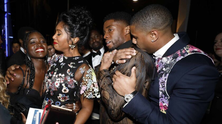 Black Panther Cast Reigns Backstage After Sag Awards Win Los Angeles Times