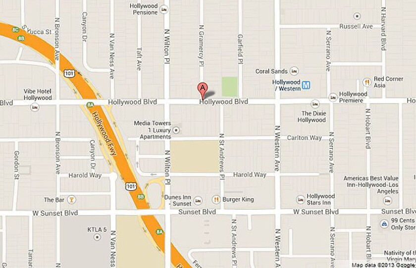 Map shows the approximate location of a deputy-involved shooting in Hollywood.