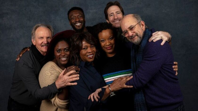 "Actors Michael O'Neill, Danielle Brooks, Alfre Woodard and Aldis Hodge, writer/director Chinonye Chukwu and actors Richard Gunn and Richard Schiff, from the film, ""Clemency,"" photographed at the L.A. Times Photo and Video Studio at the 2019 Sundance Film Festival."