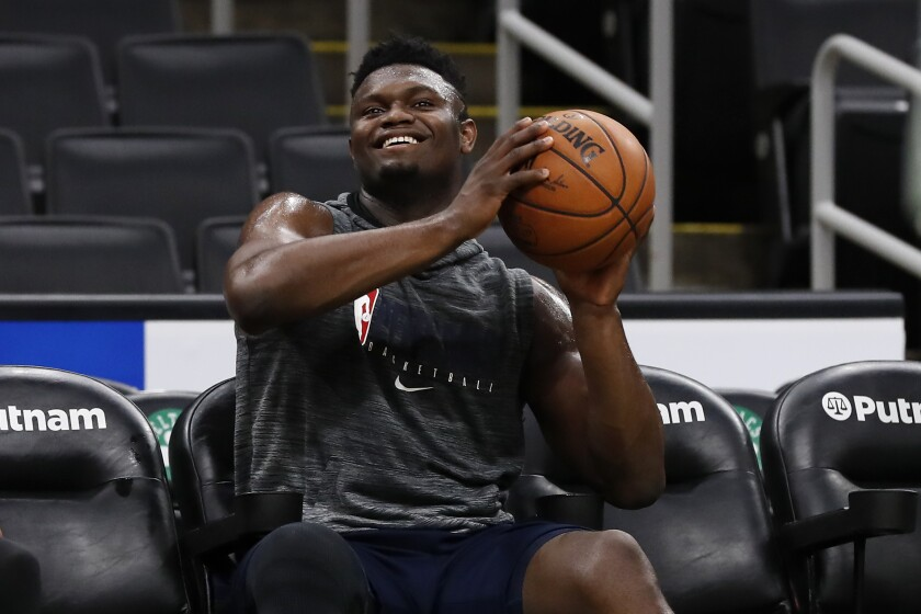 New Orleans Pelicans' Zion Williamson smiles a game against the Boston Celtics on Jan. 11 at TD Garden.