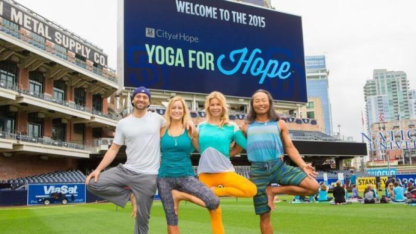 Your downward dog does more than center your soul at this outdoor fundraiser. On the centerfield of Petco Park, join hundreds of yogis to raise funds for City of Hope and support the fight against life-threatening illnesses. Since its inception, Yoga for Hope San Diego has raised more than $200,000 to help City of Hope doctors and researchers continue their lifesaving work. Bring a yoga mat, small workout towel, water bottle and an open mind as prominent instructors lead class. 7 a.m. Saturday. Petco Park, 100 Park Blvd., East Village. $55. nationalevents.cityofhope.org (/ yogaforhope.org)