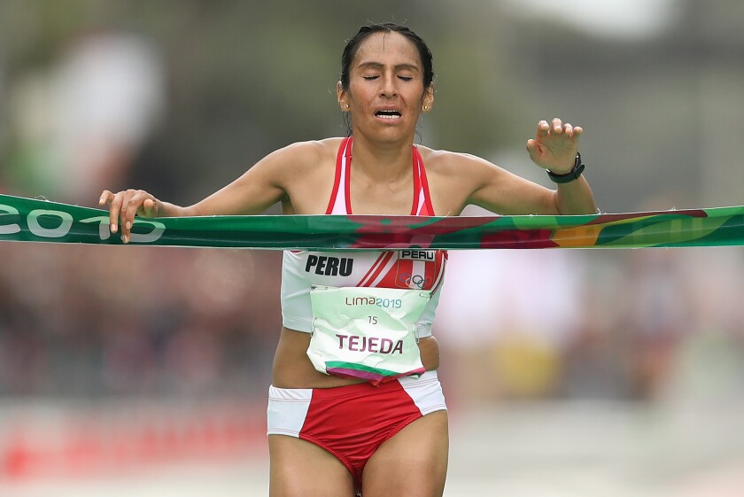 LIMA, PERU - JULY 27: Gladys Tejeda Pucuhuaran of Peru crosses the finish line during women's marathon on July 27, 2019 in Lima, Peru. (Photo by Patrick Smith/Getty Images) ** OUTS - ELSENT, FPG, CM - OUTS * NM, PH, VA if sourced by CT, LA or MoD **