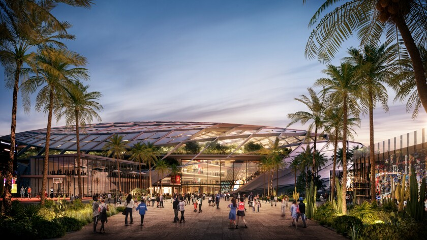 A rendering of the plaza entry of the Clippers' proposed arena in Inglewood.