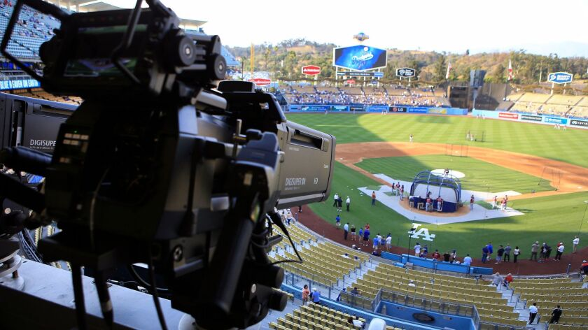 A camera in the press box at Dodger Stadium on July 29, 2014 .