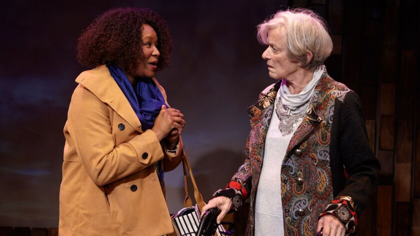 "Yolanda Franklin (left) and Anne Gee Bird in North Coast Rep's ""This Random World."""
