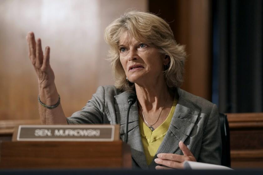 Sen. Lisa Murkowski speaks Sept. 9 during a Senate committee hearing on Capitol Hill.