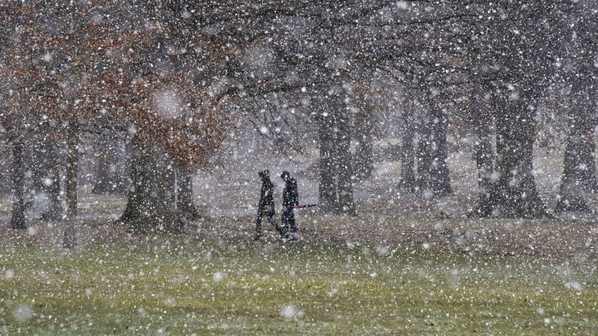 People cross Schenley Park in Pittsburgh as the snow starts to fall Tuesday, March 20, 2018.