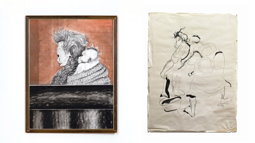 """L.A. artist Lorenzo Hurtado Segovia makes works inspired by thrift-store paintings then donates these back to thrift stores. Seen here: One of the few Segovia paintings from the series not in a thrift store, """"Mama Punk,"""" at left from 2014. At right is the original found drawing that inspired the piece."""