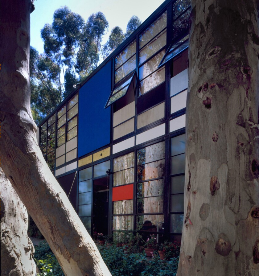 The iconic home finished in 1949 by Charles and Ray Eames is under evacuation from the Getty fire.