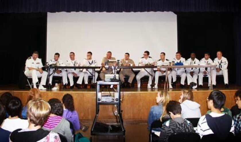 Crew of the USS La Jolla answers questions at Muirlands Middle School. Photo: Pearl Preis