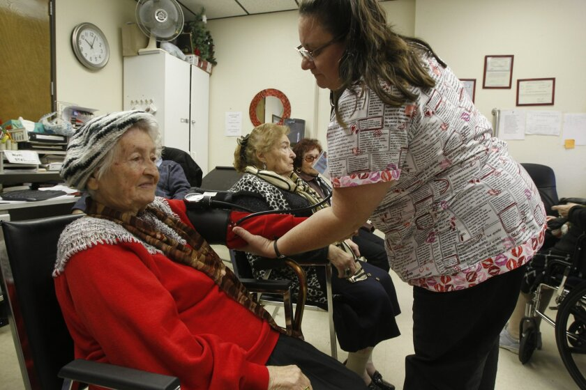 Blood pressure screenings are done daily at Loving Care Adult Health Center.
