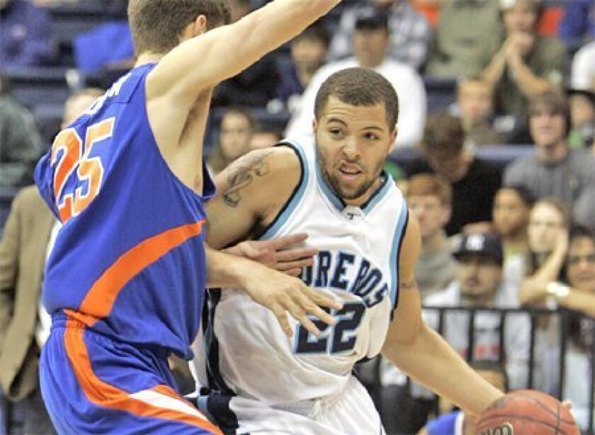After getting off to a fast start this season, USD's Rob  Jones (22) has often struggled. (Crissy Pascual / Union-Tribune)