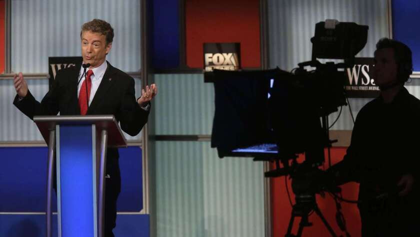 Sen. Rand Paul speaks during the Republican presidential debate in Milwaukee.