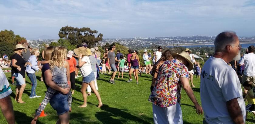 A lively crowd of music-lovers dance against a San Diego backdrop.