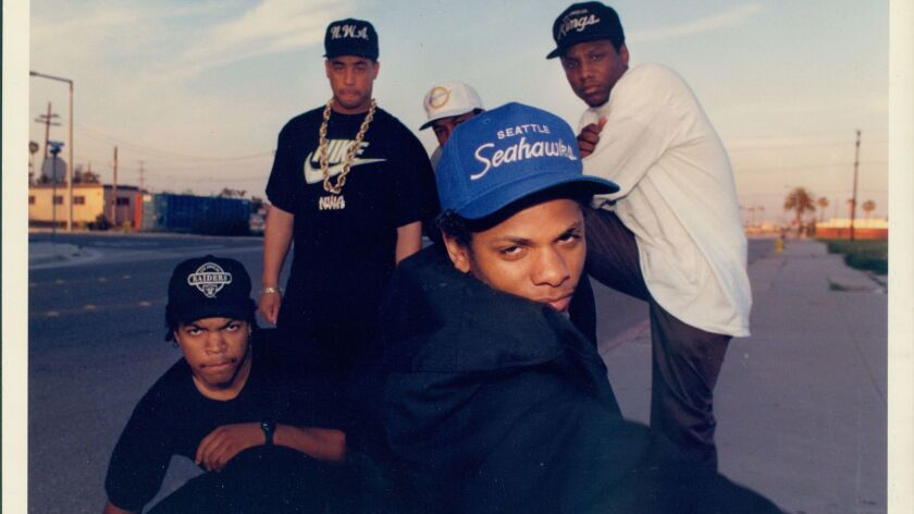 (L-R) - Ice Cube, Yella, Dr. Dre, M.C. Ren and Eazy-E from the band N.W.A. Credit: Douglas R. Burrow