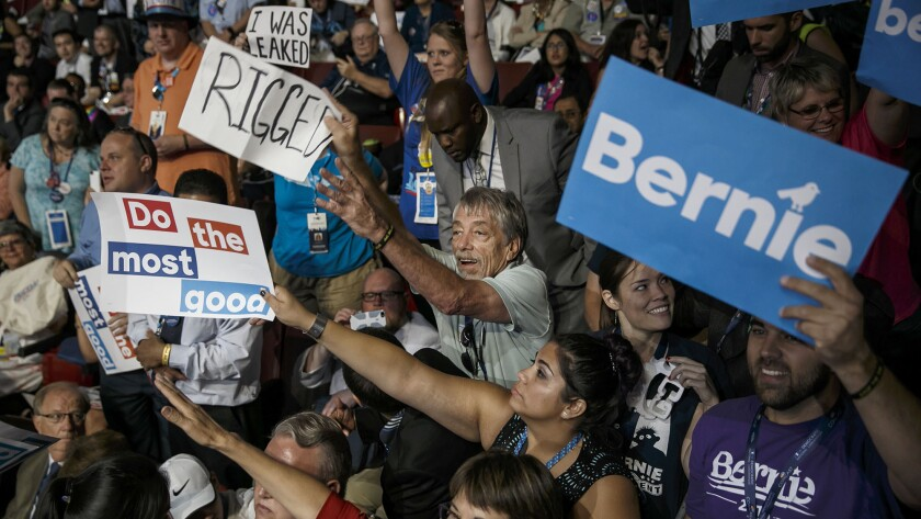 During the 2016 Democratic National Convention, Bernie Sanders supporters protested to the bitter end.
