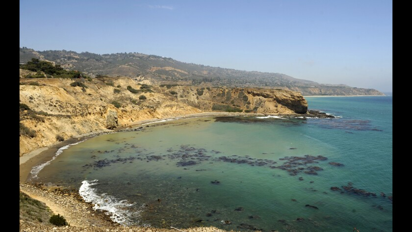 A view from the Portuguese Point Loop Trail looking down at Sacred Cove on the Palos Verdes Peninsula.