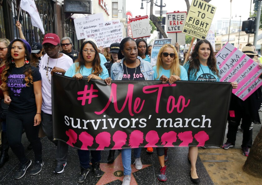 Tarana Burke, founder and leader of the #MeToo movement, marches in Hollywood in 2017.