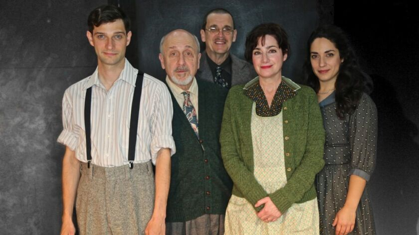 """J. Tyler Jones, Eric Poppick, Joe Paulson, Sandy Campbell and Anna Rebeck (from left) appear in New Village Arts Theatre's """"Awake and Sing!"""""""
