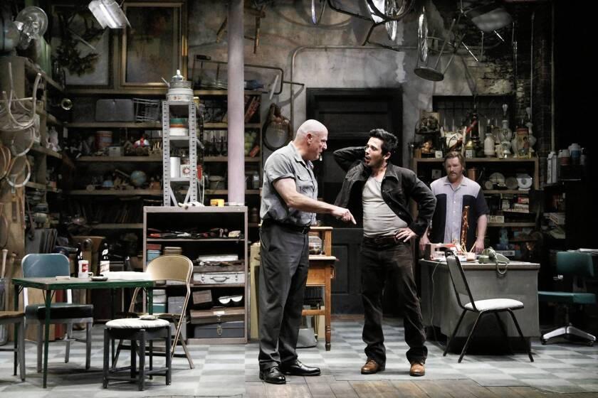 "Bill Smitrovich, left, Freddy Rodriguez and Ron Eldard in ""American Buffalo"" at the Geffen Playhouse in Westwood."