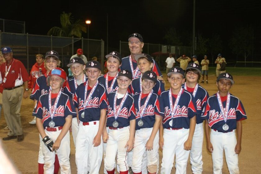 Super Region Championship on July 18 in Whittier. They advance to the Western Zone tourney in Walnut, Calif., and play their first game at 5 p.m. on today Front Row (L-R):  Carson Greene, Matthew Moses, Miles Matalon, Evan Benham, Connor Harrison, James Shimashita Back Row: Garret Brown, Sterling H