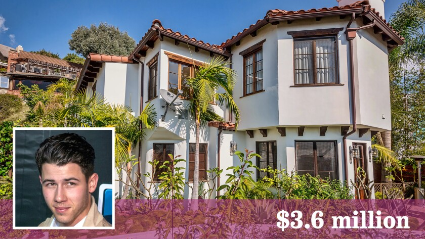 Nick Jonas' Mediterranean compound sits on a knoll above the Sunset Strip.