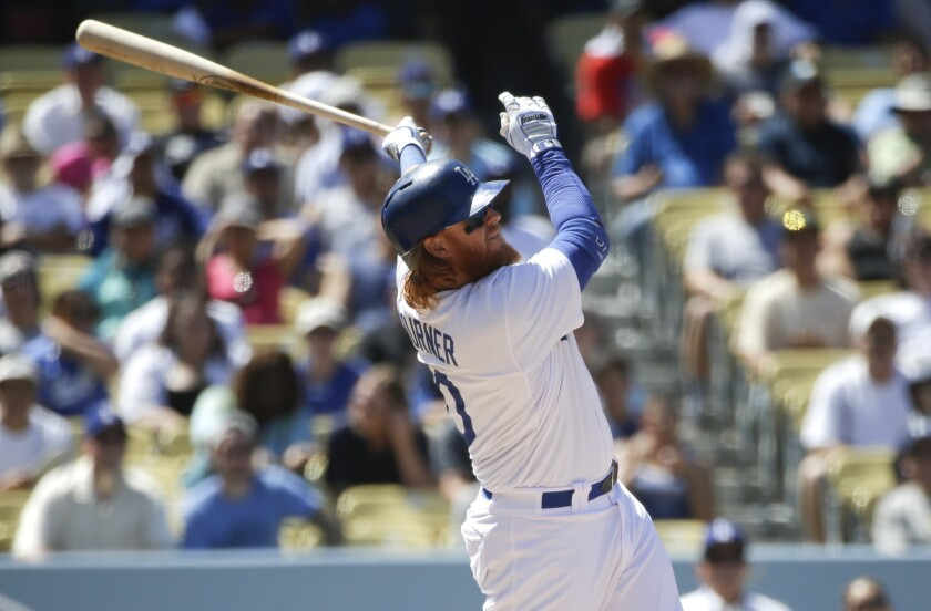 Justin Turner hits a two-run home run in the seventh inning off of Washington's Jordan Zimmermann. Turner claimed to have been hit by an earlier pitch, but after an official review, the call on the field was upheld.