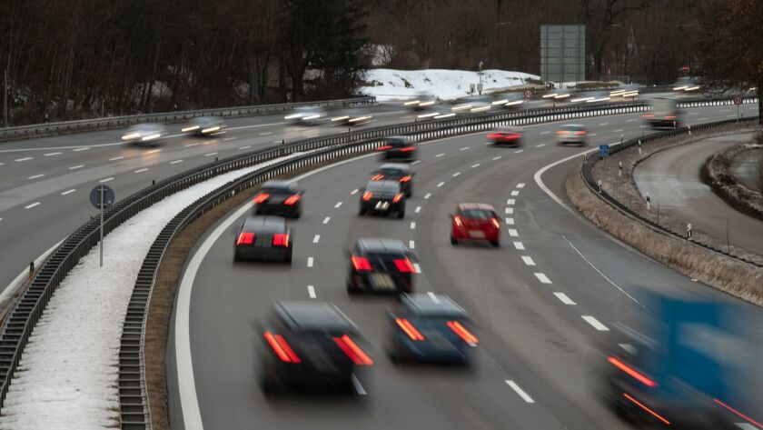 Traffic on the German motorway A95 near Munich, Germany last month. A California lawmaker has proposed new freeway lanes with no speed limit in the Golden State.