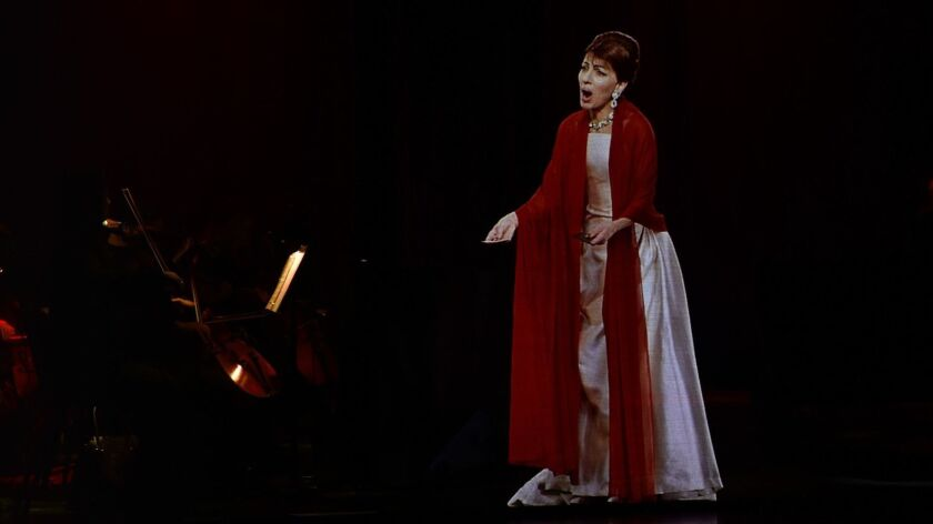 Base Hologram interactive concert performance with Maria Callas at Lincoln Center on Jan. 14, 2018, in New York.