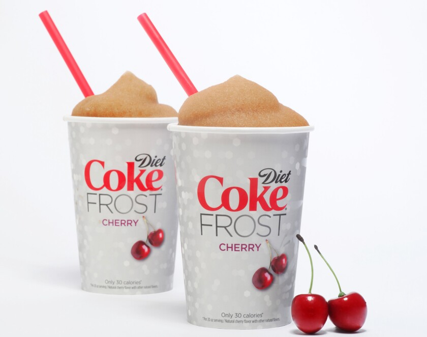New Diet Coke Cherry Frost Slurpees are being sold at 7-Eleven.