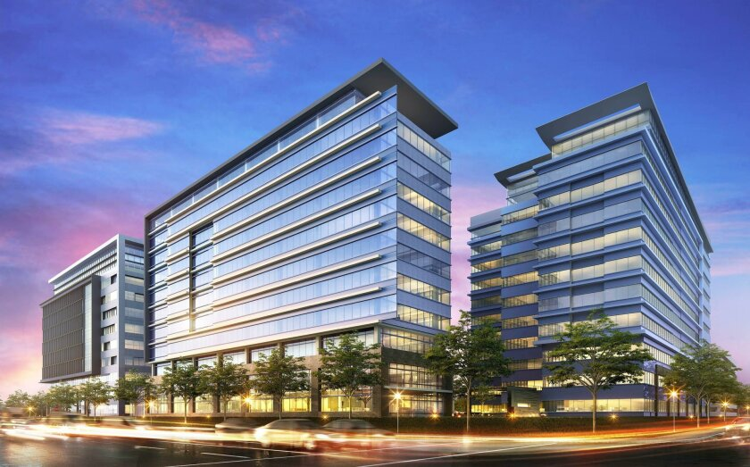 Sunroad Enterprises plans to add two new office towers at its Centrumplace in Kearny Mesa. The existing building, opened in 2008, is at far right.
