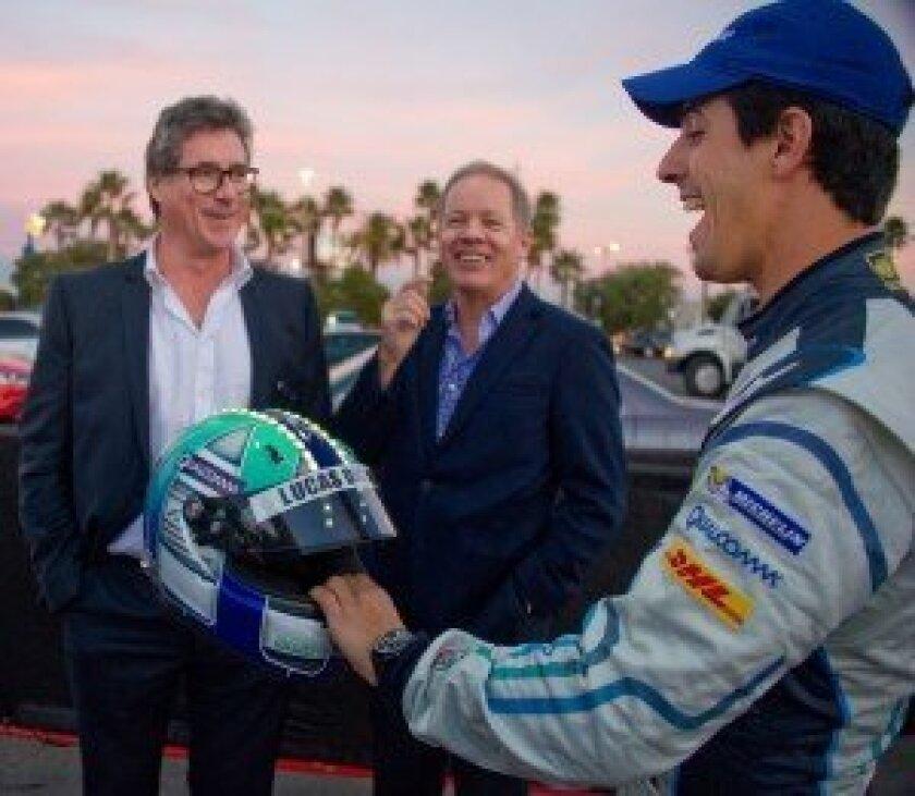 Test driver Lucas di Grassi & electric helmet at debut