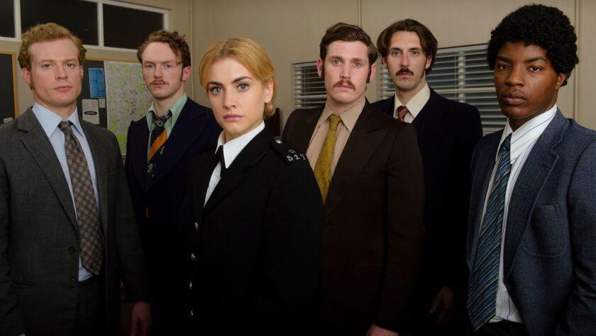 "Sam Reid, Joshua Hill, Stefanie Martini, Tommy McDonnell, Blake Harrison and Daniel Ezra work to keep 1973 London safe in ""Prime Suspect: Tennison."""