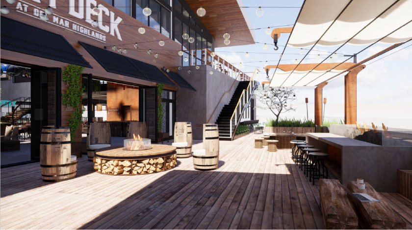 Del Mar Highland's Town Center's coming-next-year Sky Deck will include eight to 10 dining destinations, a central cocktail bar and an elevated outdoor brewer's deck.