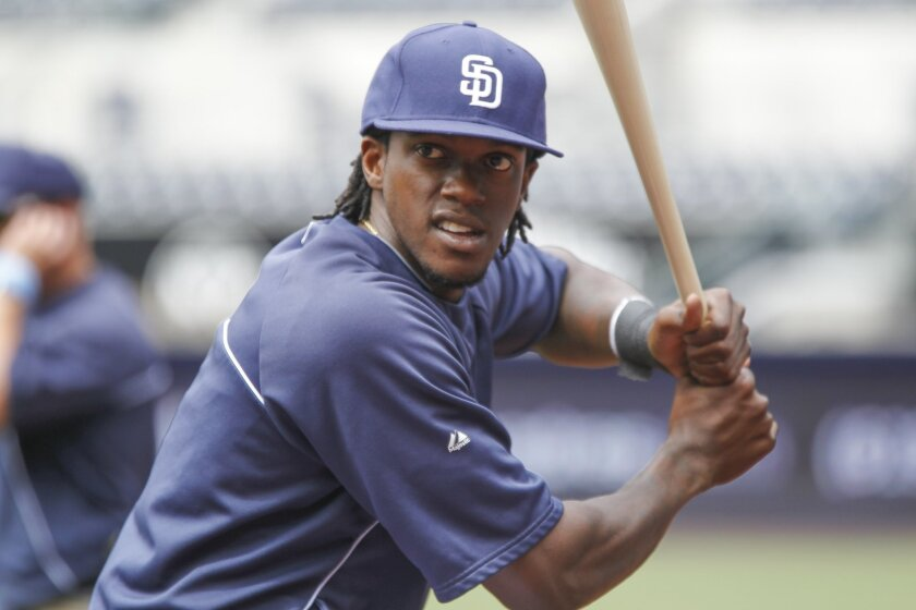 The Padres' Cameron Maybin during batting practice before the Padres game against the Mets at Petco Park in San Diego on Saturday.