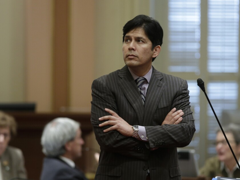 State Sen. Kevin de Leon (D-Los Angeles) watches a vote count on Aug. 21