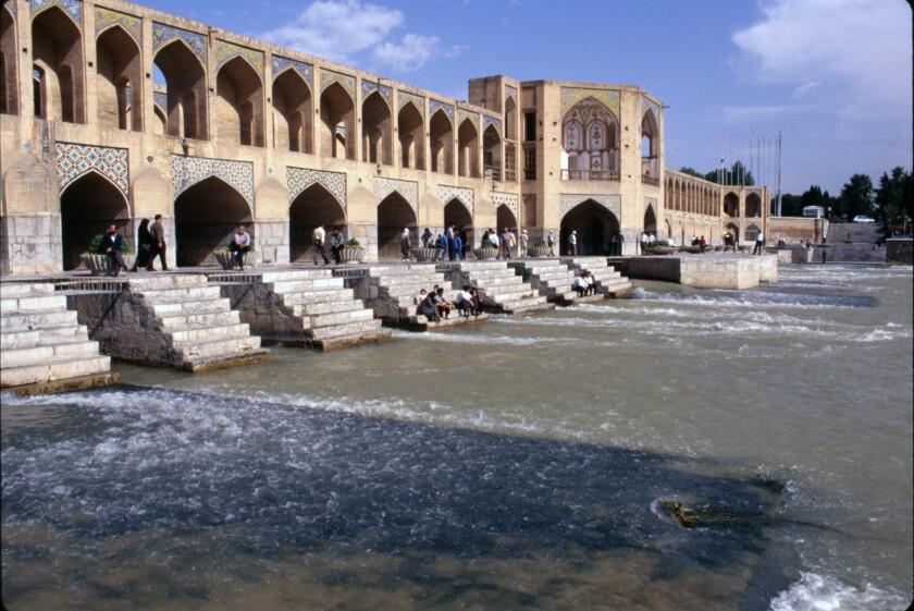 The 17th-century Khaju Bridge in Isfahan, Iran.