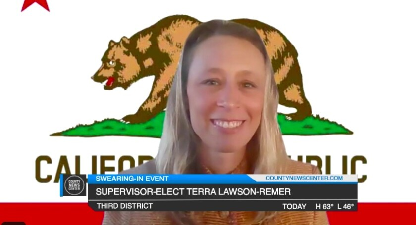 San Diego County Supervisor Terra Lawson-Remer took the oath of office in a virtual ceremony on Jan. 4.