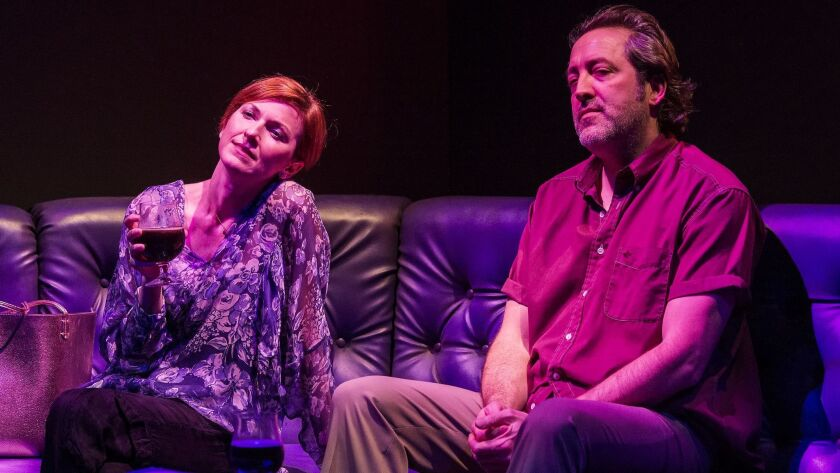 """Ian Barford is perfect cast as the 50-year-old guy with a hangdog demeanor, and Cora Vander Broek is a vulnerable life coach and love interest in the Steppenwolf Theatre Company production of Tracy Letts' """"Linda Vista"""" at the Mark Taper Forum."""