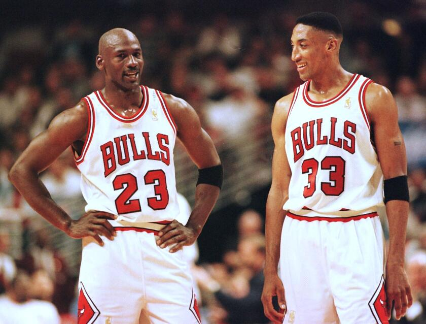Chicago Bulls teammates Michael Jordan, left, and Scottie Pippen in May 1997.