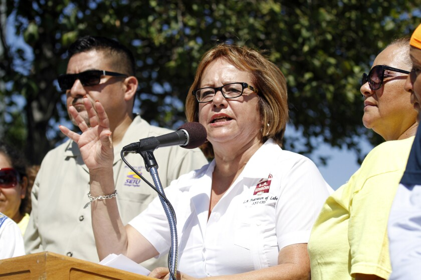The AFL-CIO's Maria Elena Durazo speaks at a 2014 rally in favor of L.A. Mayor Eric Garcetti's plan to raise the minimum wage.