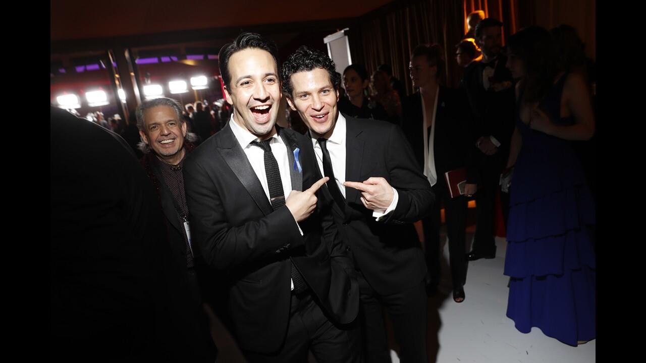 Lin-Manuel Miranda, left, at the 89th Academy Awards Governors Ball on Sunday night.