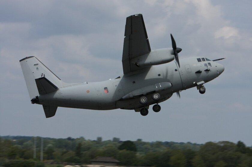 A military C-27 transport plane