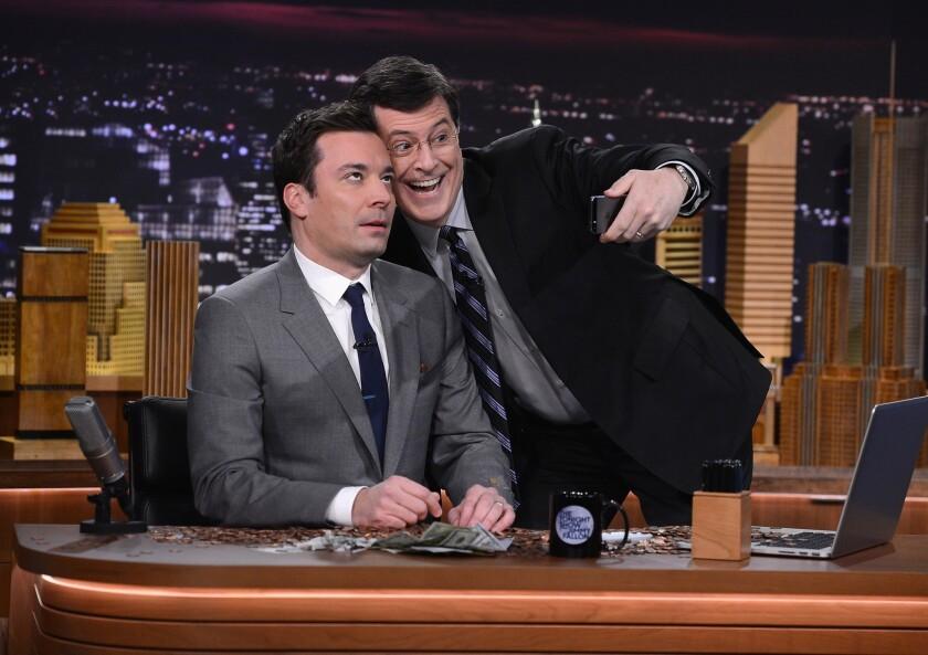 "Stephen Colbert visits ""The Tonight Show Starring Jimmy Fallon."""